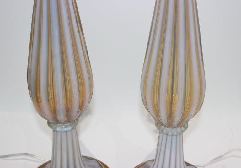 Italian Pair of Seguso Murano Glass Lamps for Marbro Lamps For Sale