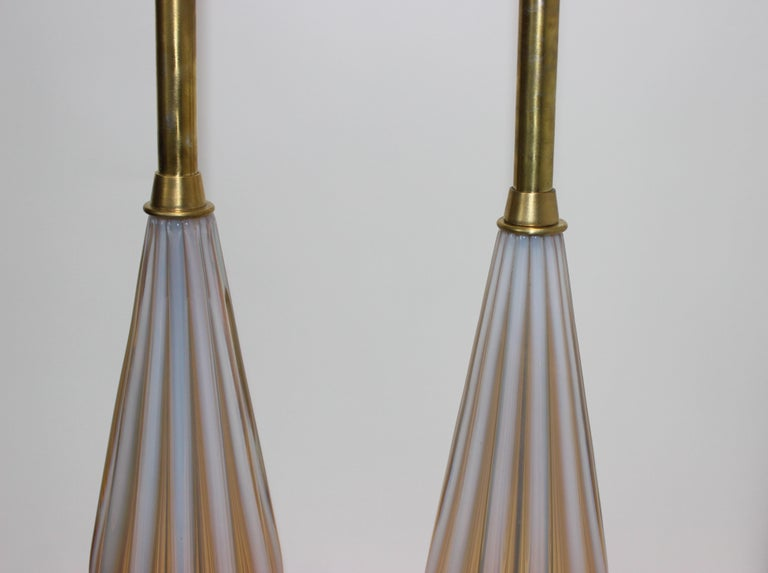Hand-Crafted Pair of Seguso Murano Glass Lamps for Marbro Lamps For Sale