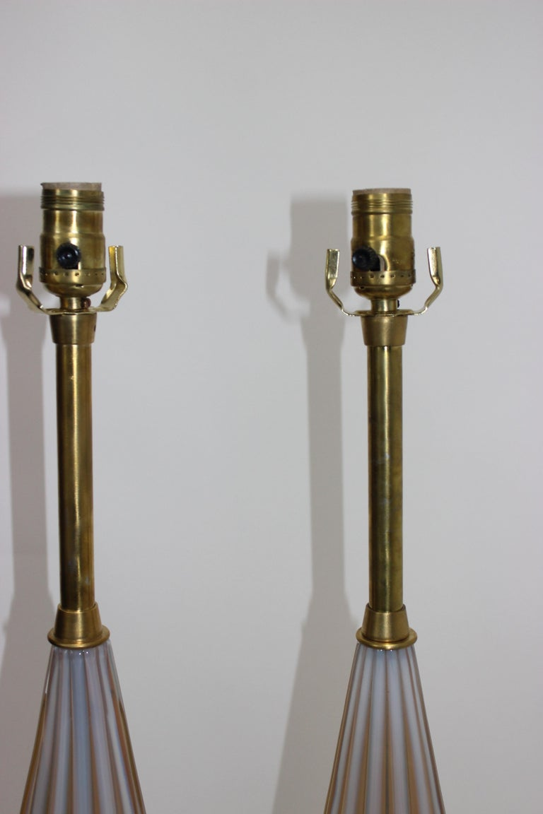 Pair of Seguso Murano Glass Lamps for Marbro Lamps In Good Condition For Sale In West Palm Beach, FL