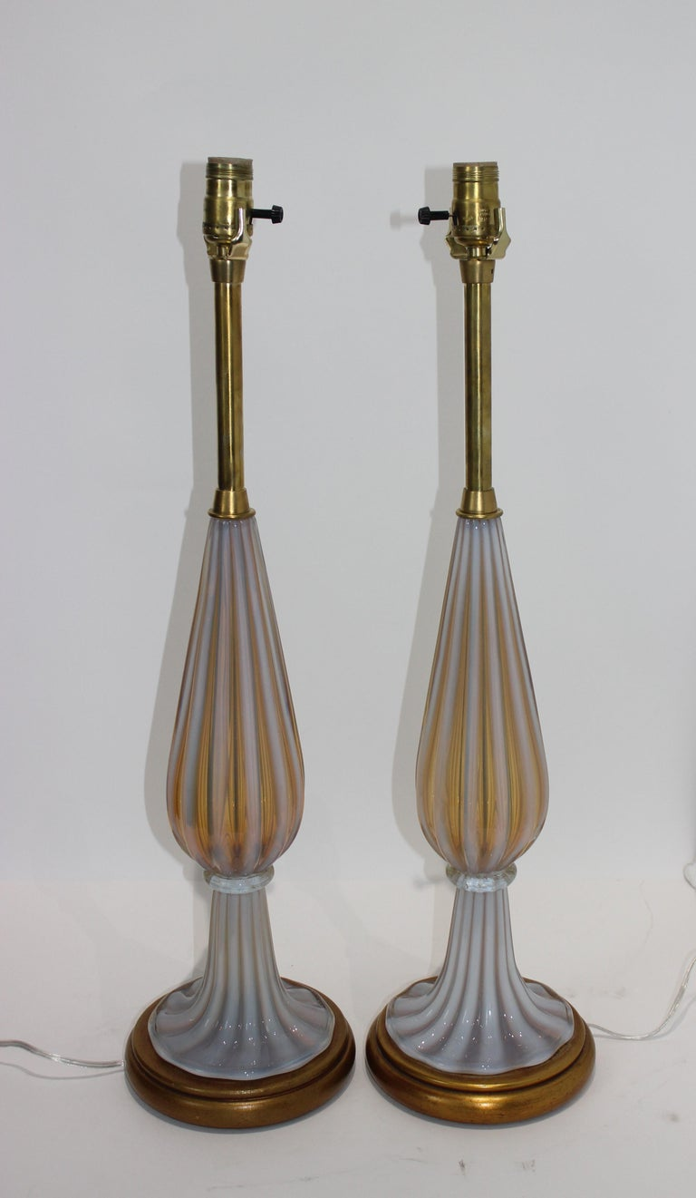 20th Century Pair of Seguso Murano Glass Lamps for Marbro Lamps For Sale