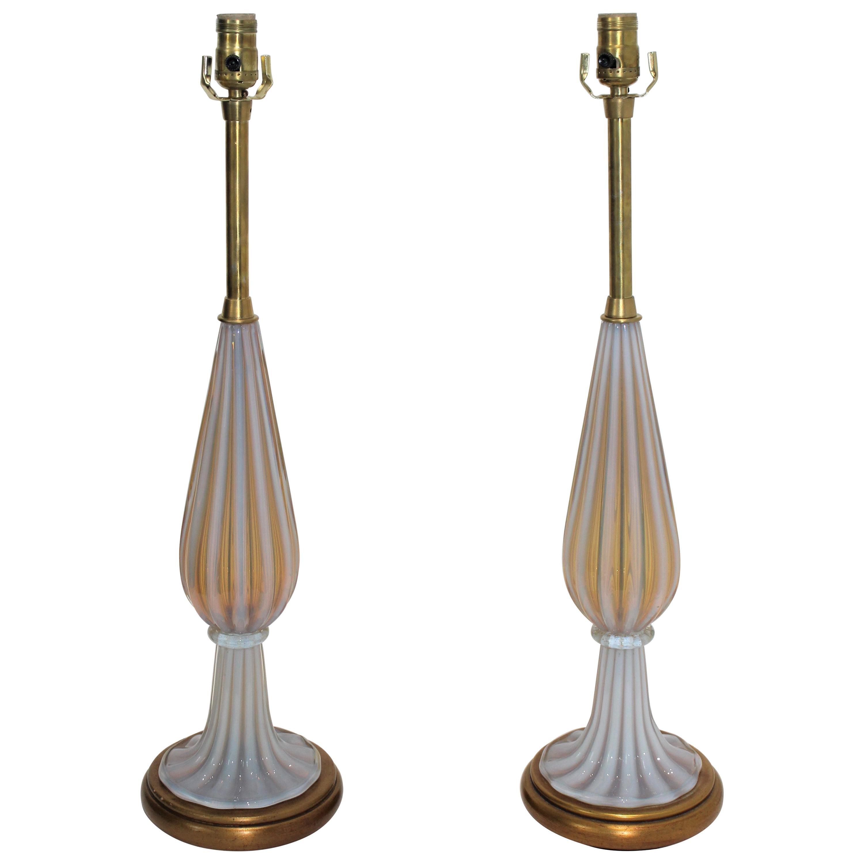 Pair of Seguso Murano Glass Lamps for Marbro Lamps
