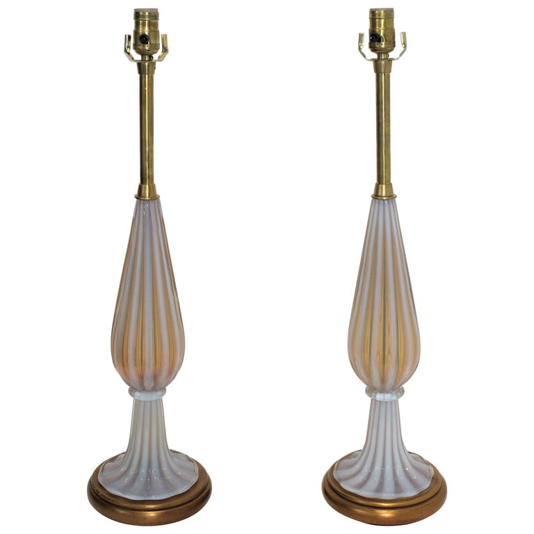 Pair of Seguso Murano Glass Lamps for Marbro Lamps For Sale
