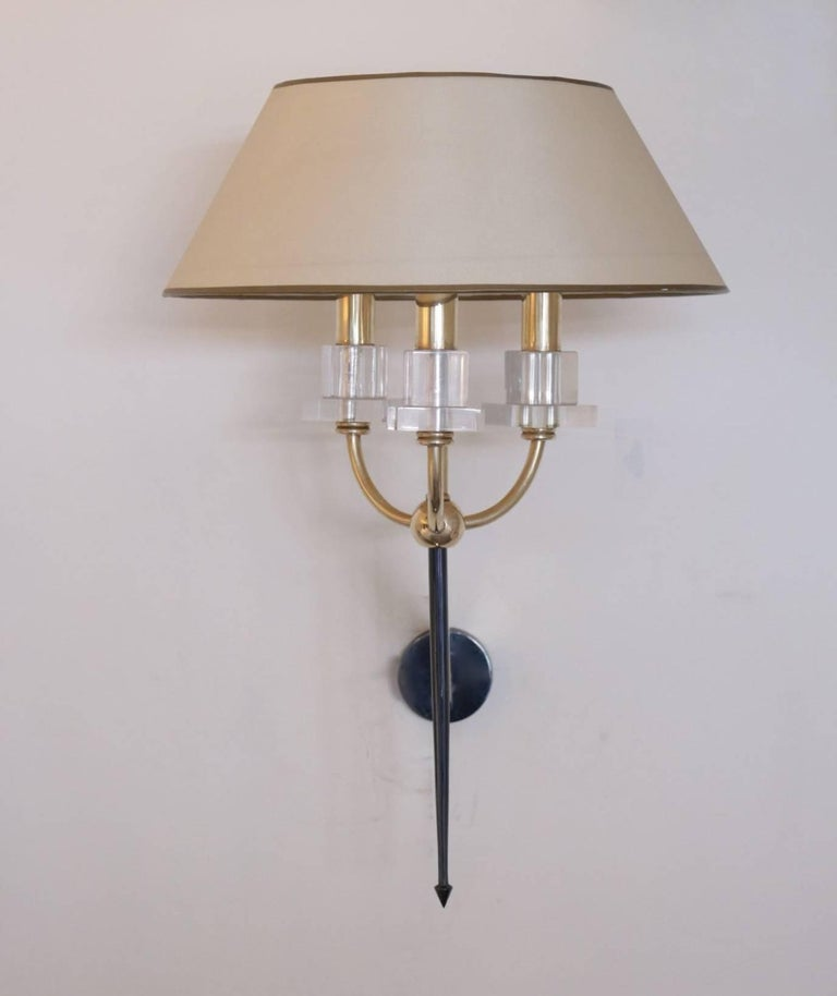Brass Pair of Marcel Asselbur Sconces, 1950s For Sale