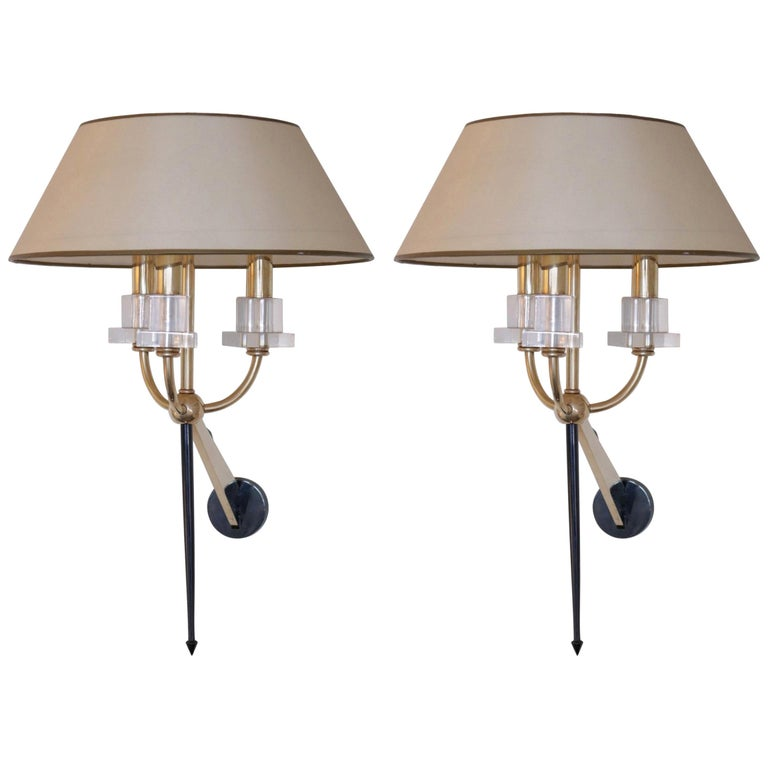 Pair of Marcel Asselbur Sconces, 1950s For Sale