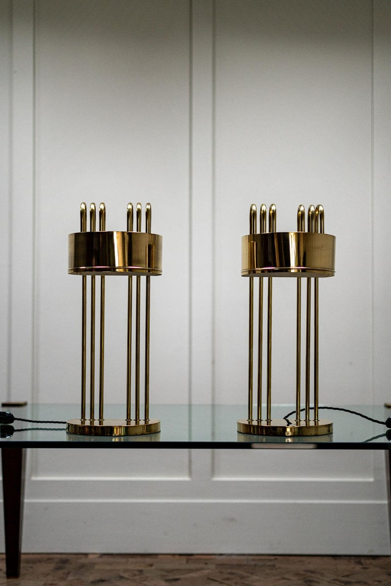 Pair of Marcel Breuer Art Deco desk lamps, 1925, Paris.  A very beautiful pair of desk lamps designed by Marcel Breuer for the International Exposition of Modern Industrial and Decorative Arts, Paris.  Both lamps bare the stamp on the top of the