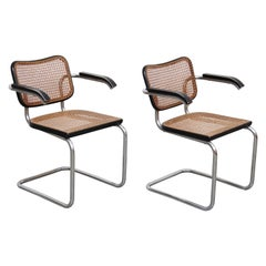 Pair of Marcel Breuer B64 Design Cesca Chairs by Gavina, circa 1960