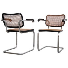 Pair of Marcel Breuer B64 Design Cesca Chairs by Gavina, circa 1960