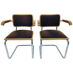 Pair of Marcel Breuer Brown Channeled Velvet Upholstered Cesca Armchairs, Italy