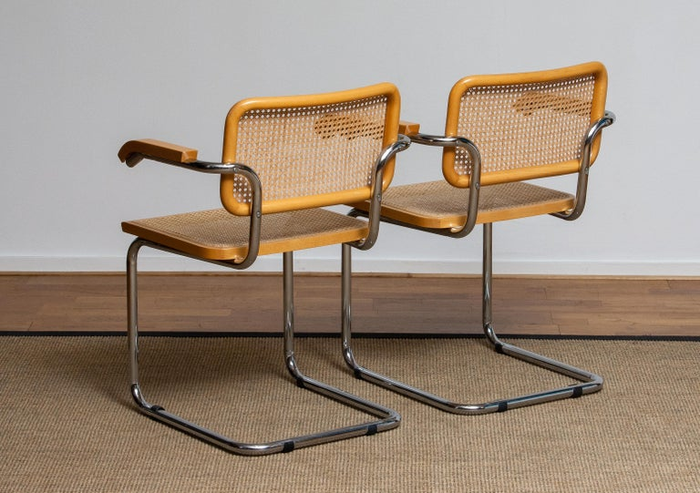 Pair of Marcel Breuer Cane or Chrome and Gold Beech Cesca S64 Chairs, Italy 3