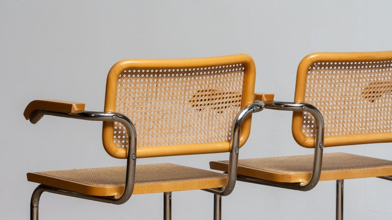 Pair of Marcel Breuer Cane or Chrome and Gold Beech Cesca S64 Chairs, Italy 4