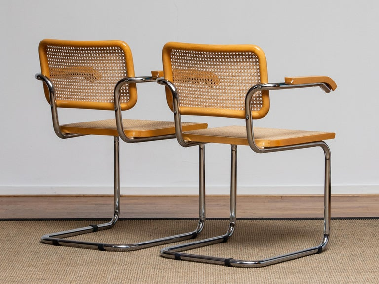 Pair of Marcel Breuer Cane or Chrome and Gold Beech Cesca S64 Chairs, Italy 5