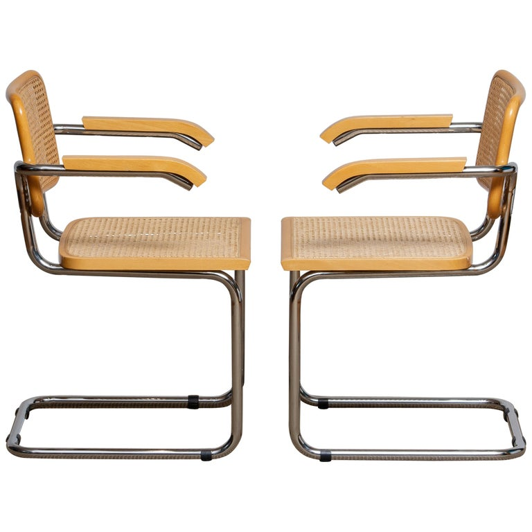 Mid-Century Modern Pair of Marcel Breuer Cane or Chrome and Gold Beech Cesca S64 Chairs, Italy
