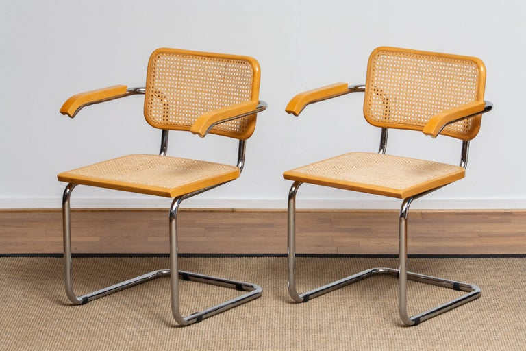Italian Pair of Marcel Breuer Cane or Chrome and Gold Beech Cesca S64 Chairs, Italy