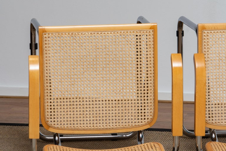 Pair of Marcel Breuer Cane or Chrome and Gold Beech Cesca S64 Chairs, Italy 1