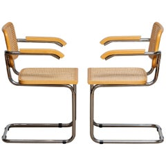 Pair of Marcel Breuer Cane or Chrome and Gold Beech Cesca S64 Chairs, Italy