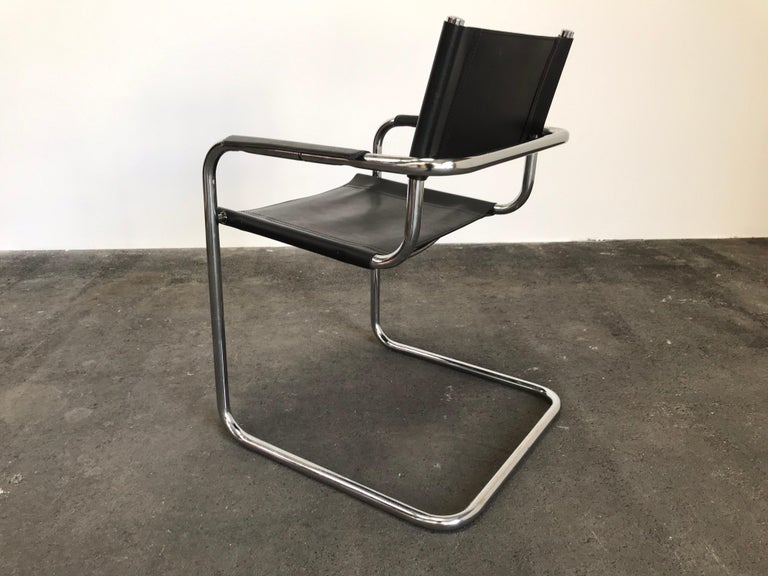 Pair of Marcel Breuer Cantilever Dining Armchairs in Black Leather MG5 / B34 For Sale 3