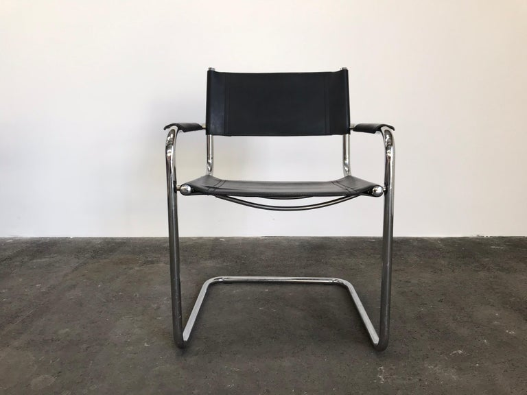 European Pair of Marcel Breuer Cantilever Dining Armchairs in Black Leather MG5 / B34 For Sale