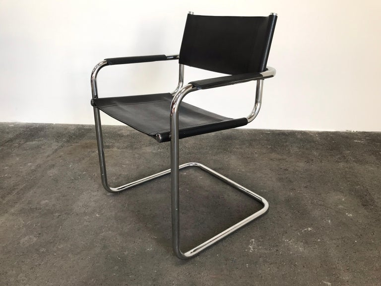 20th Century Pair of Marcel Breuer Cantilever Dining Armchairs in Black Leather MG5 / B34 For Sale