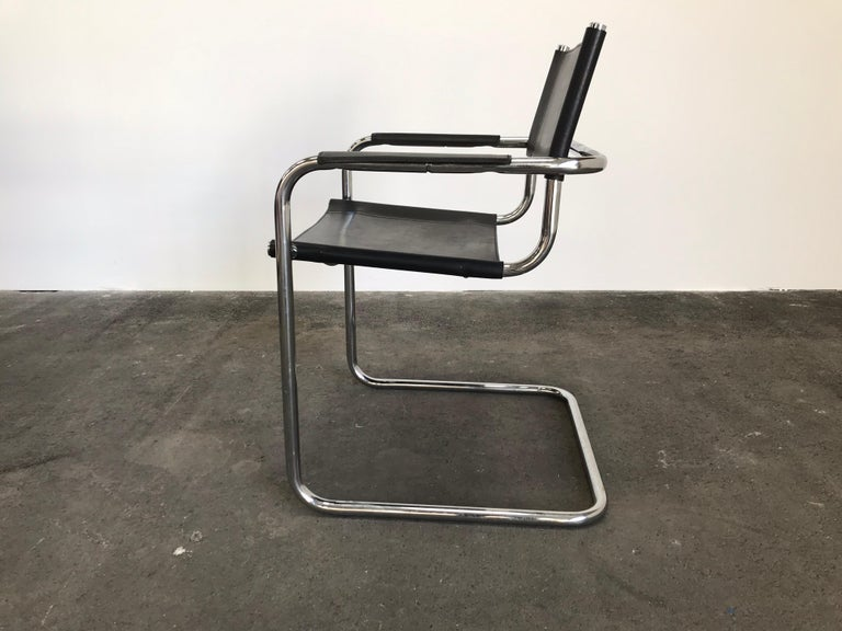 Steel Pair of Marcel Breuer Cantilever Dining Armchairs in Black Leather MG5 / B34 For Sale