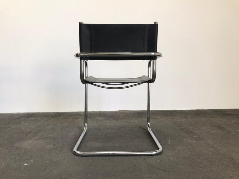 Pair of Marcel Breuer Cantilever Dining Armchairs in Black Leather MG5 / B34 For Sale 2