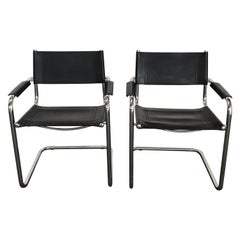 Pair of Marcel Breuer Cantilever Dining Armchairs in Black Leather MG5 / B34