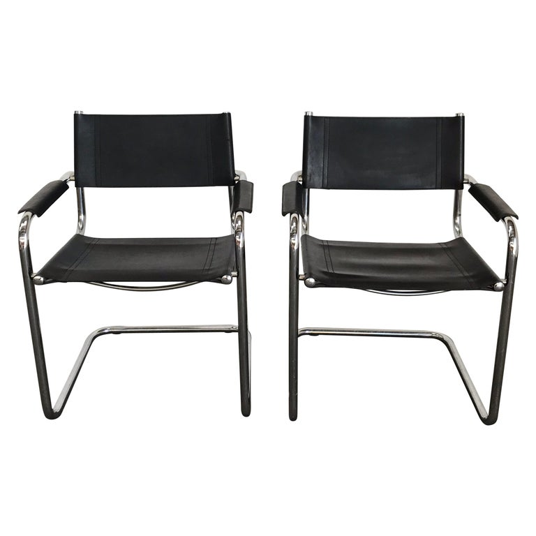 Pair of Marcel Breuer Cantilever Dining Armchairs in Black Leather MG5 / B34 For Sale