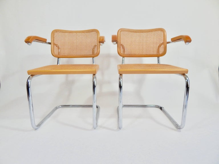 Italian Pair of Marcel Breuer Cesca Chairs, 1970s For Sale