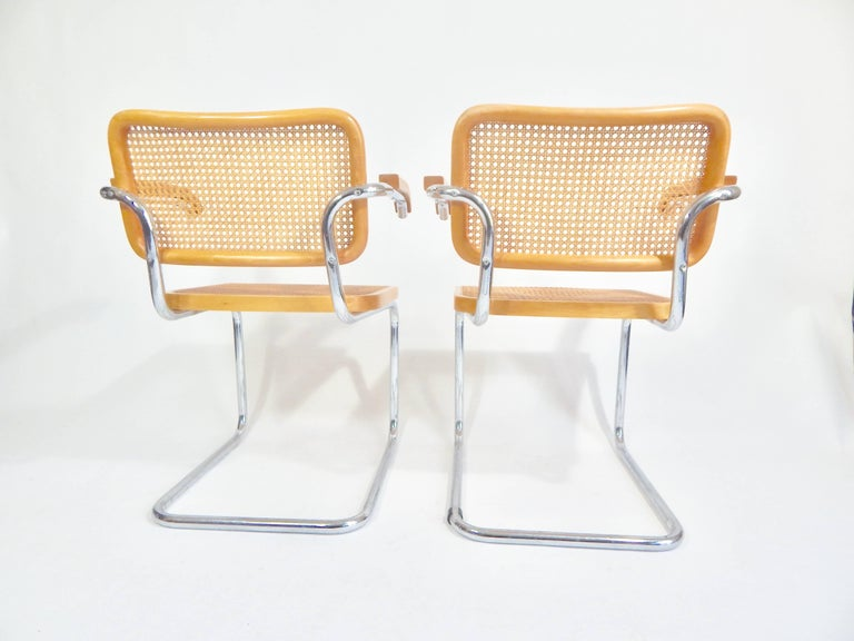 Cane Pair of Marcel Breuer Cesca Chairs, 1970s For Sale