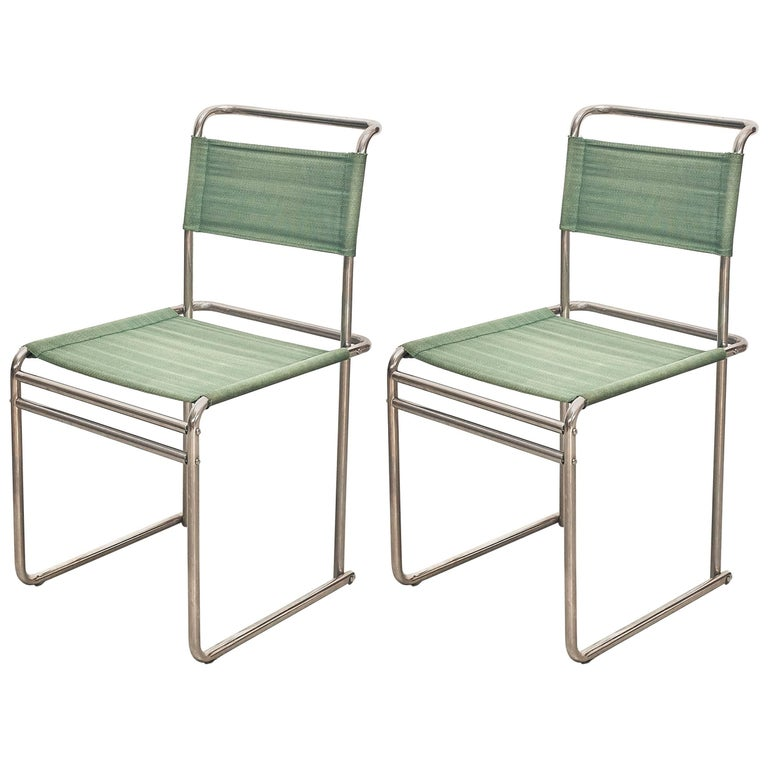 Pair of Marcel Breuer Mid-Century Modern Bauhaus Metal And Fabirc B5 Chairs For Sale 4