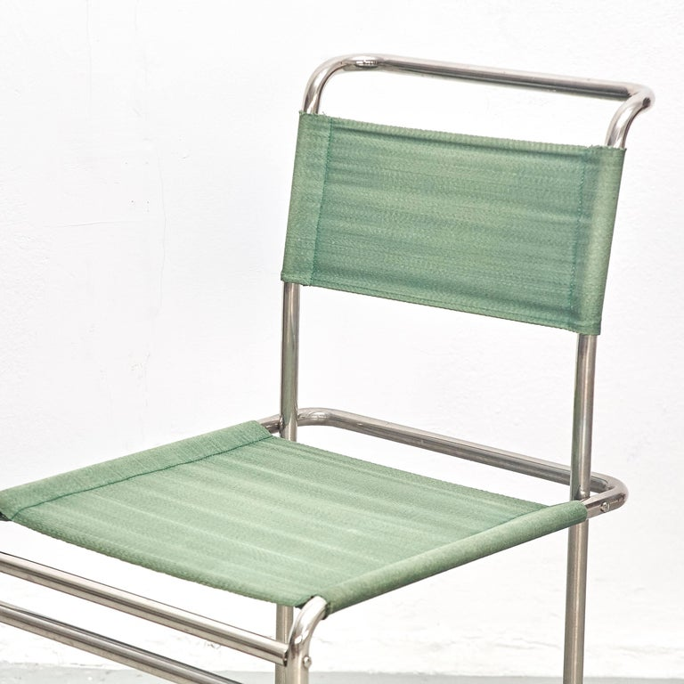 Pair of Marcel Breuer Mid-Century Modern Bauhaus Metal And Fabirc B5 Chairs For Sale 2