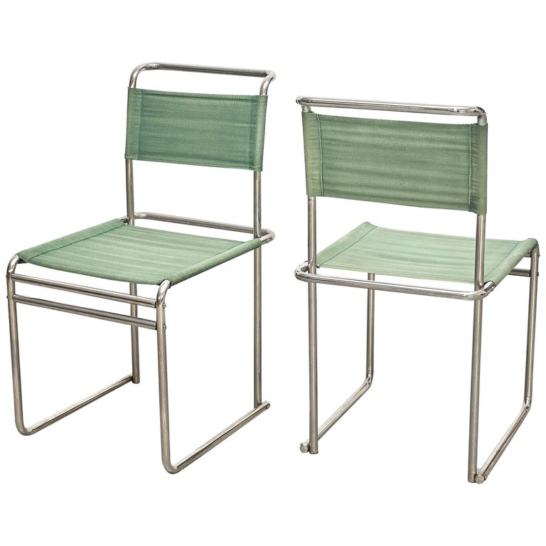 Pair of Marcel Breuer Mid-Century Modern Bauhaus Metal And Fabirc B5 Chairs For Sale