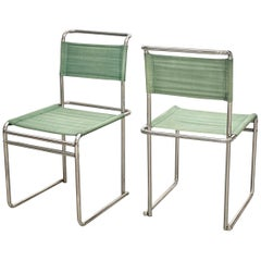 Pair of Marcel Breuer Mid-Century Modern Bauhaus Metal and Fabric B5 Chairs