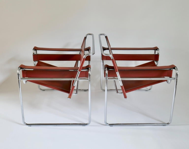Pair of Marcel Breuer Style Brown or Burgundy Leather Wassily Chairs For Sale 4