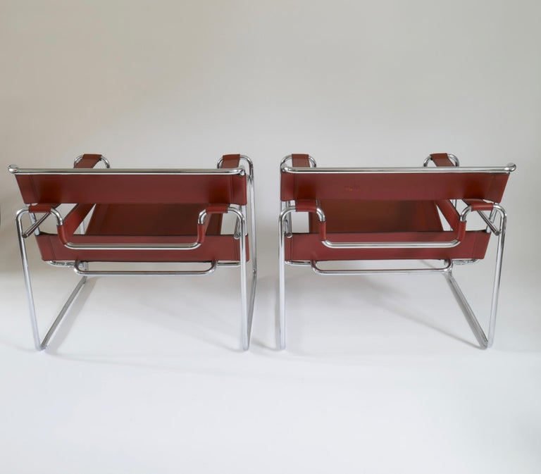 Pair of Marcel Breuer Style Brown or Burgundy Leather Wassily Chairs For Sale 5