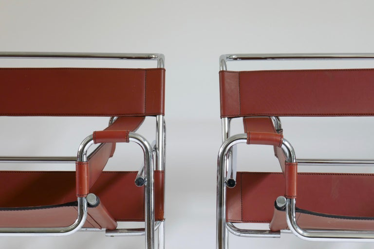 Pair of Marcel Breuer Style Brown or Burgundy Leather Wassily Chairs For Sale 6