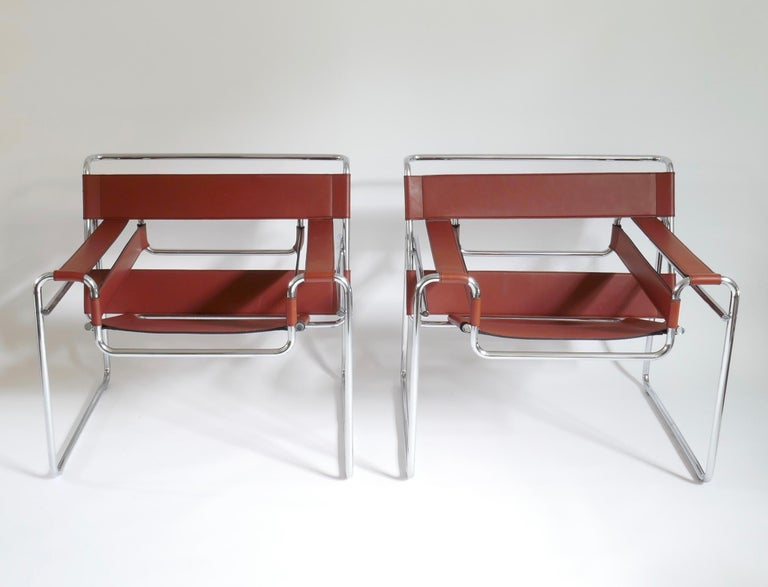 Bauhaus Pair of Marcel Breuer Style Brown or Burgundy Leather Wassily Chairs For Sale