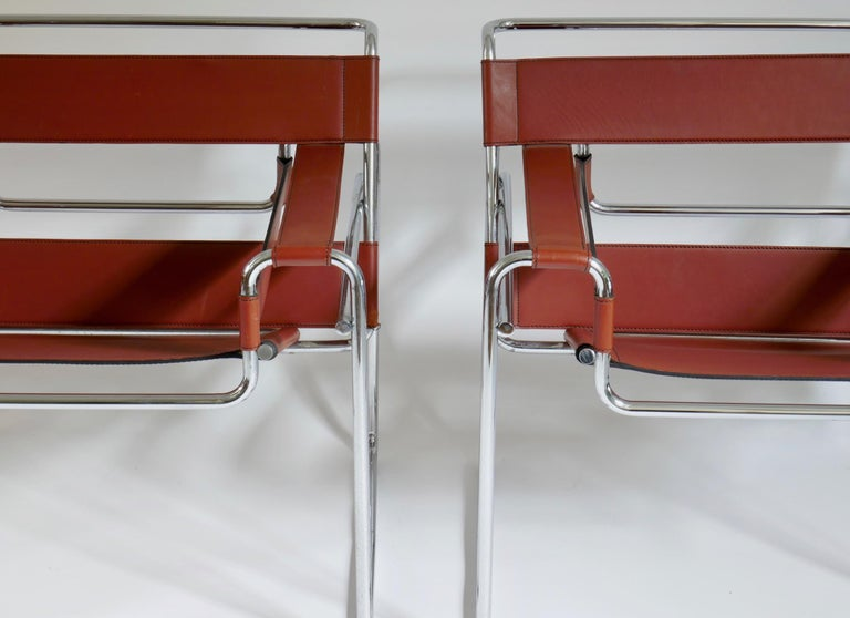 Italian Pair of Marcel Breuer Style Brown or Burgundy Leather Wassily Chairs For Sale