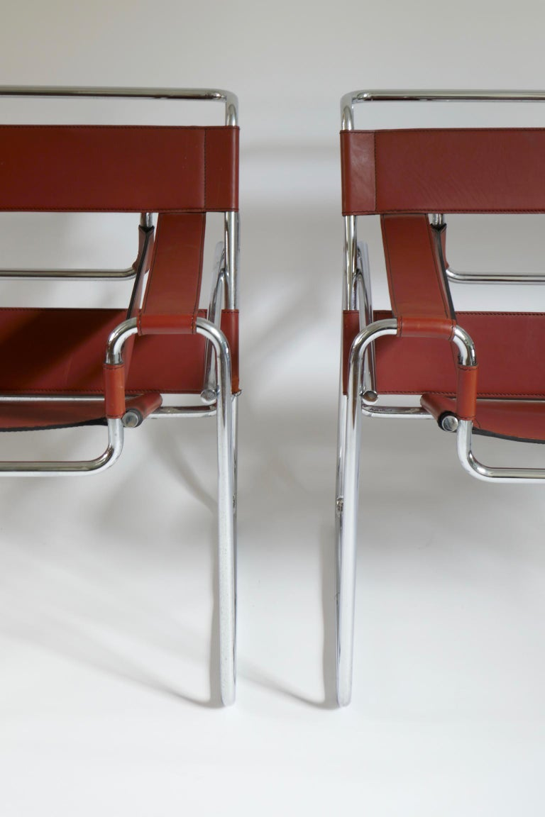 Pair of Marcel Breuer Style Brown or Burgundy Leather Wassily Chairs For Sale 1