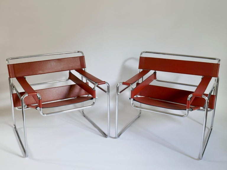 Pair of Marcel Breuer Style Brown or Burgundy Leather Wassily Chairs For Sale 2