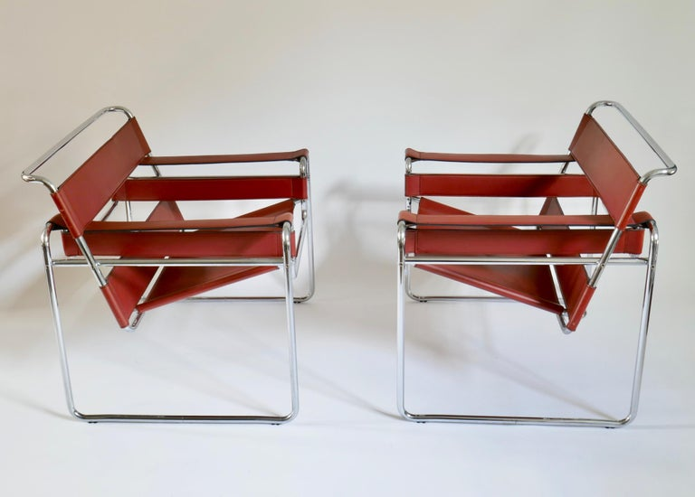 Pair of Marcel Breuer Style Brown or Burgundy Leather Wassily Chairs For Sale 3