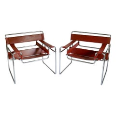 Pair of Marcel Breuer Style Brown or Burgundy Leather Wassily Chairs