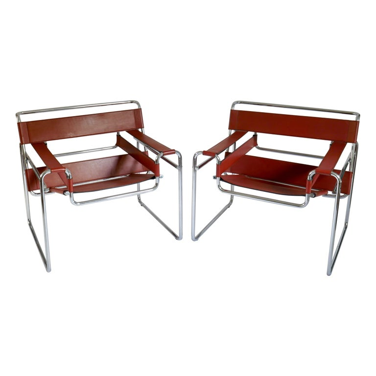 Pair of Marcel Breuer Style Brown or Burgundy Leather Wassily Chairs For Sale