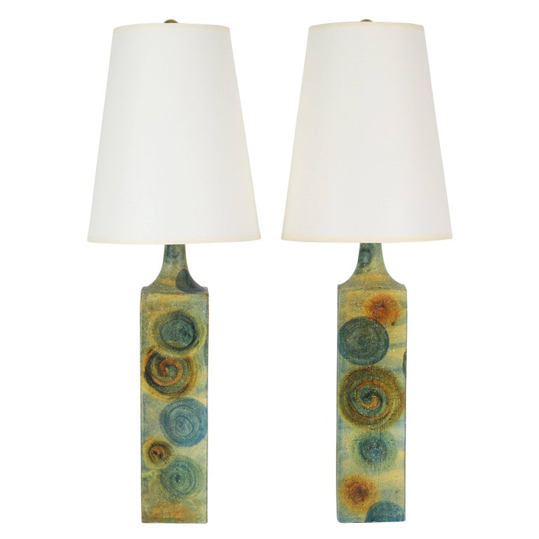 Pair of Marcello Fantoni Ceramic Table Lamps, circa 1960s