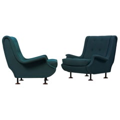 Pair of Marco Zanuso Regent Lounge Chairs for Arflex, Italy, 1960s