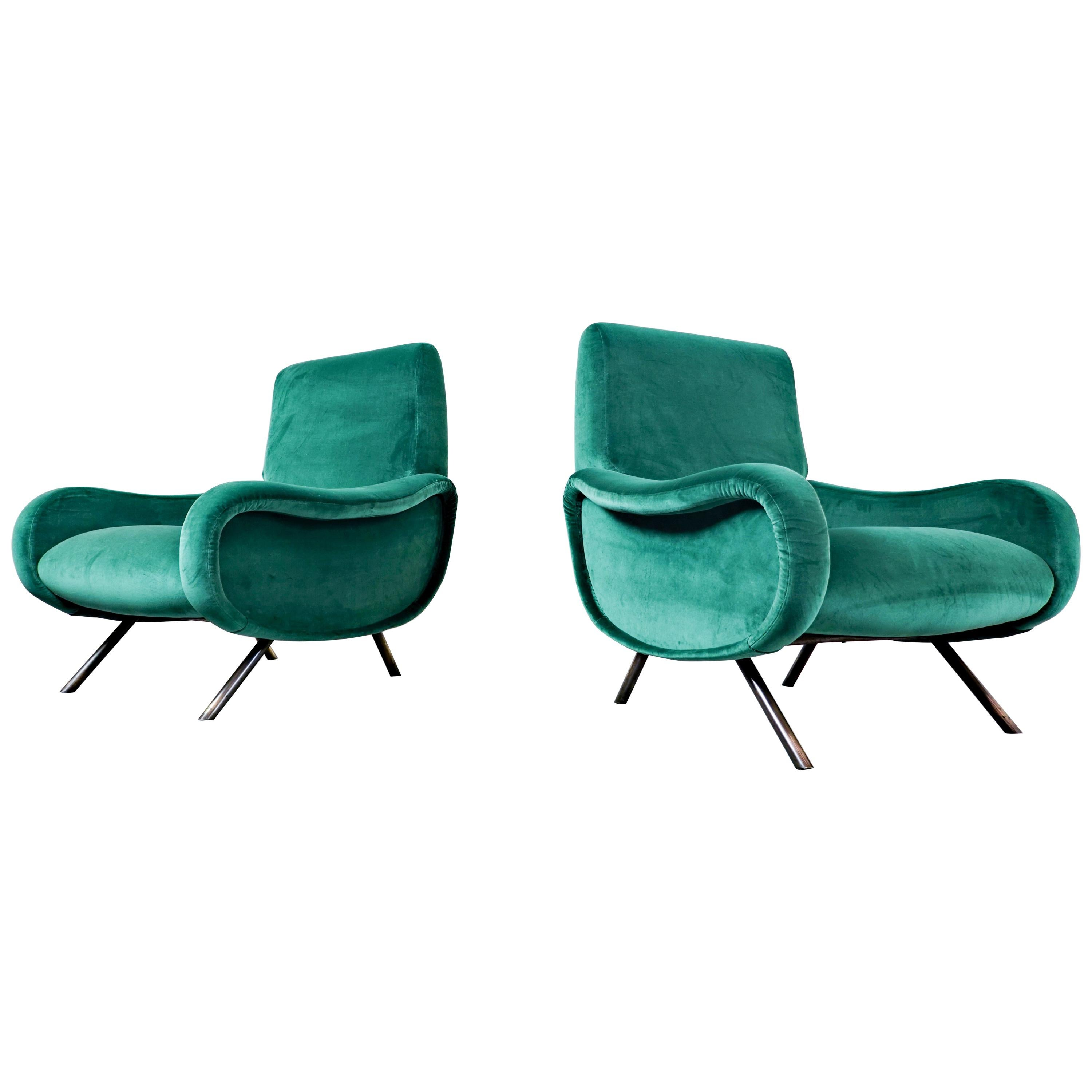"""Pair of Mid-Century Modern """"Lady"""" Armchairs by Marco Zanuso, Green Velvet 1950s"""