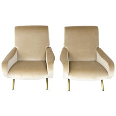 Pair of Marco Zanuso Italian Lady Lounge Chairs for Arflex