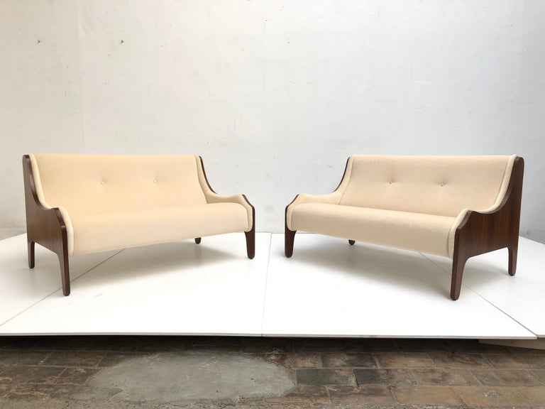 Pair of Marco Zanuso  'Milord ' Loveseats, Rosewood, Mohair, 1957, Arflex Italy For Sale 6