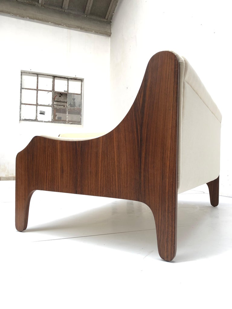 Pair of Marco Zanuso  'Milord ' Loveseats, Rosewood, Mohair, 1957, Arflex Italy For Sale 7