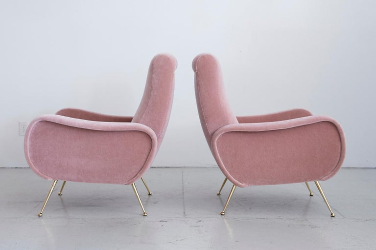 Pair of Marco Zanuso Style Lady Chairs In Good Condition For Sale In Los Angeles, CA