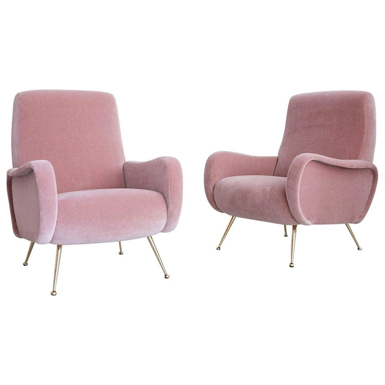 Pair of Marco Zanuso Style Lady Chairs For Sale